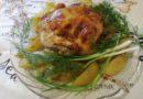 Курица запеченная целиком в духовке с картошкой